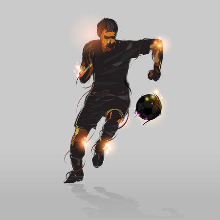 football kick: abstract soccer striker shooting soccer ball with gray background