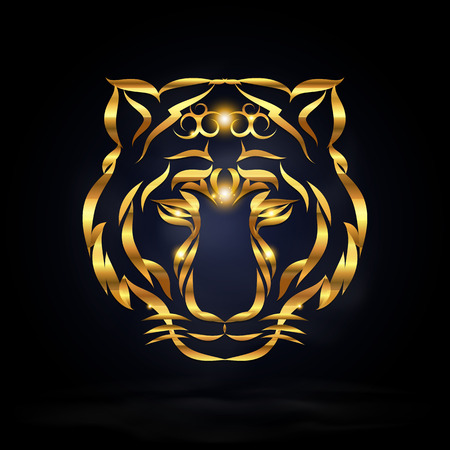 abstract gold tiger with dark background