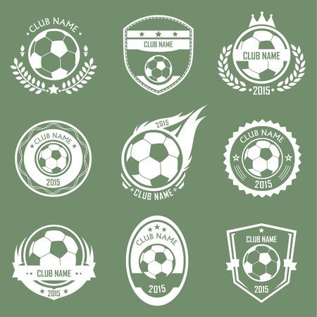 futbol soccer: Colección de fútbol emblemas estilo retro con fondo verde