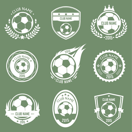 Collection of soccer emblems retro style with green background Illustration