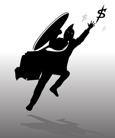 Silhouette jumping business spartan with gray background