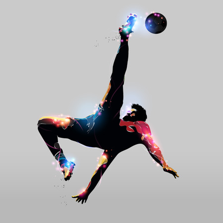 abstract colorful silhouette soccer player over head kick 向量圖像
