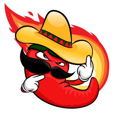 red jalapeno: red hot chili pepper cartoon character with fire background Illustration