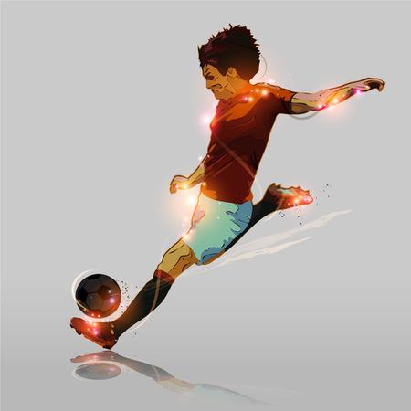 추상적 인 색 축구 선수의 촬영 축구 공