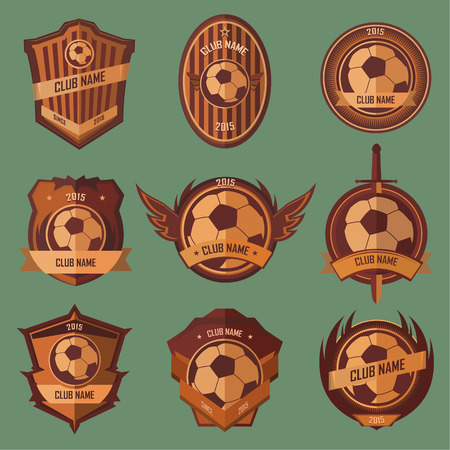 Soccer ball emblems collection set on green background