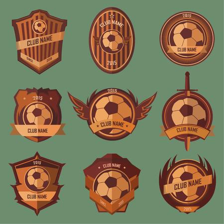 Voetbal emblemen collectie set op groene achtergrond Stock Illustratie