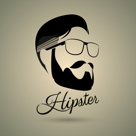 Hipster symbol retro style with green background