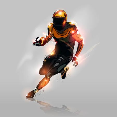 football silhouette: Estratto giocatore di football americano colorato in esecuzione con sfondo grigio