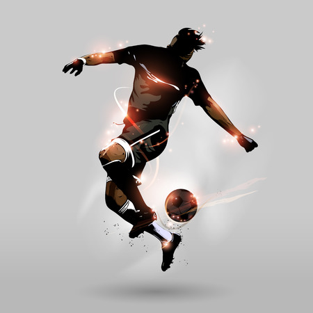 abstract soccer player jumping touch a soccer ball in the air