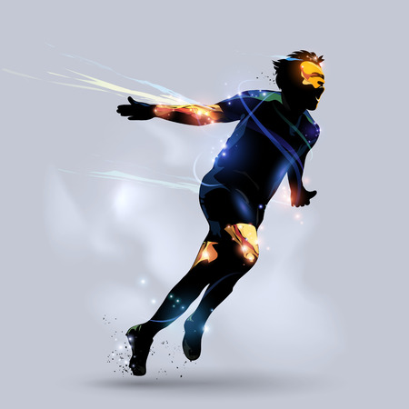 abstract soccer player celebrating goal with gray background Vettoriali