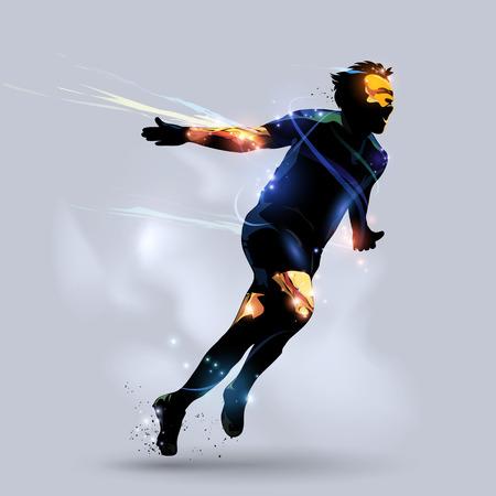jugador de futbol: jugador de f�tbol abstracta meta celebrando con fondo gris