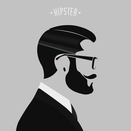 white beard: silhouette hipster men fashion on gray background