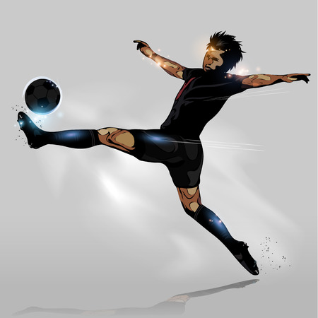abstract soccer player speed to touching soccer ball Ilustração