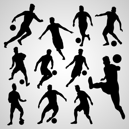 Silhouettes black soccer players collection set on white background