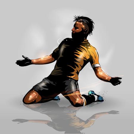 抽象的なシルエットのサッカーの選手が得点目標を祝う