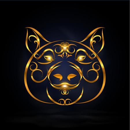 abstract gold pig symbol design with dark background Ilustração