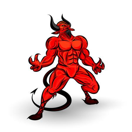 diavoli: character design diavolo rosso su sfondo bianco Vettoriali