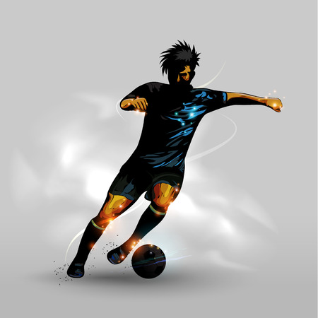 soccer game: Abstract silhouettes soccer player dribbling soccer ball
