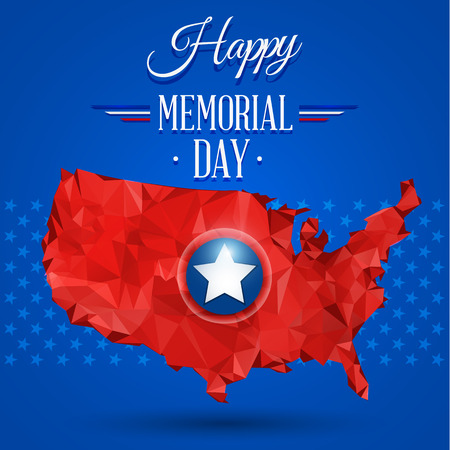 Blue happy memorial day design on a star background Çizim