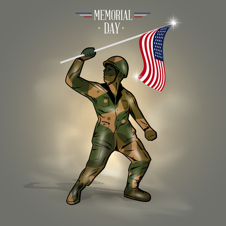 american army: Happy Memorial day flag soldier of America Illustration