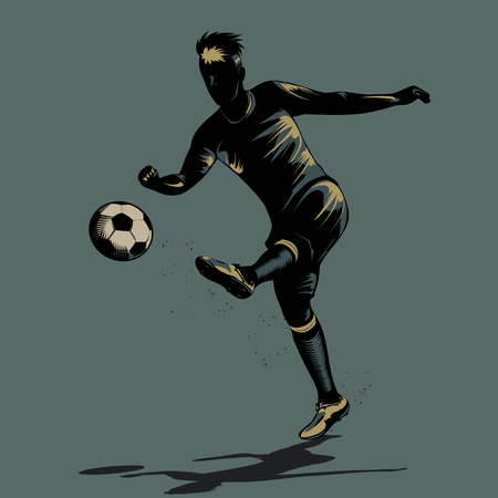 abstract soccer player half volley shooting ball