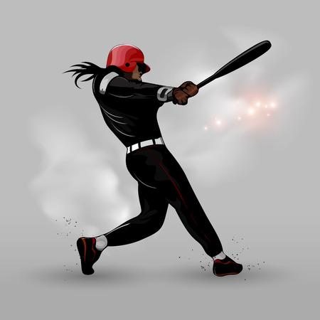 抽象的なシルエット野球ボールを打つ  イラスト・ベクター素材