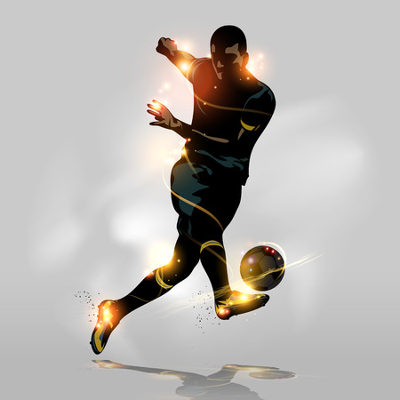 kicking ball: Abstract soccer player quick shooting a ball Illustration