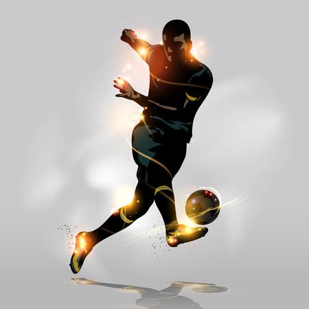 football players: Jugador de fútbol abstracto rápida disparar una pelota