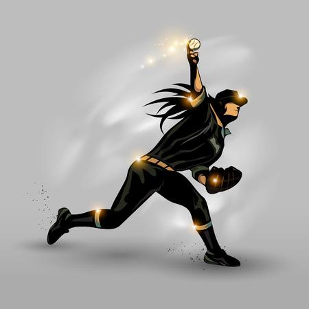 Zwarte honkbalspeler pitching boren een bal met grijze achtergrond Vector Illustratie