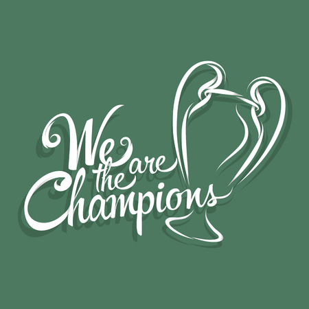 We are the champions text sign and symbol