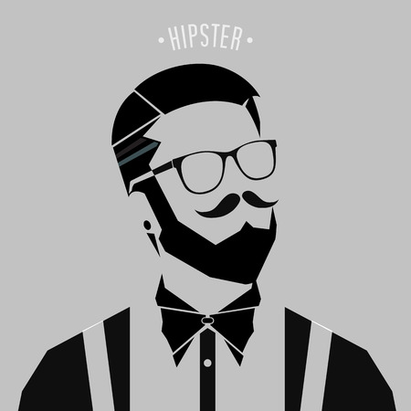 silhouette hipster men style on gray background