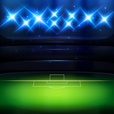 夜のスポット ライトとサッカー スタジアムの背景