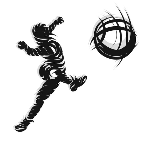 kicking ball: Soccer player in action shooting design ink style