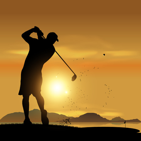 orange sunset: Golfer silhouette swinging at sunset design background