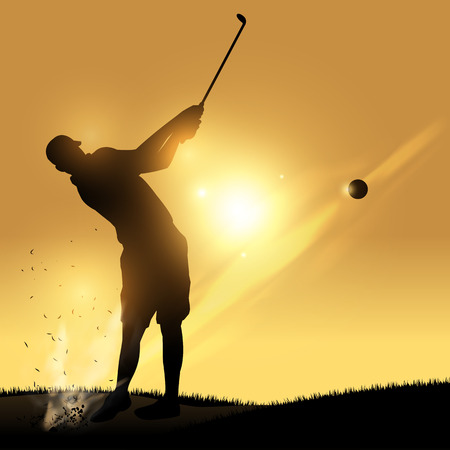 Golfer silhouette hard swinging witha yellow background