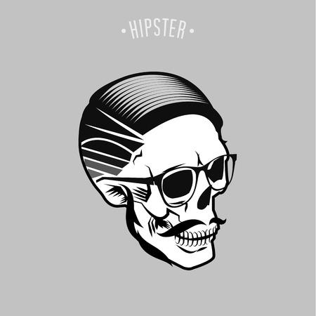 灰色の背景と流行に敏感な頭蓋骨シンボル デザイン  イラスト・ベクター素材
