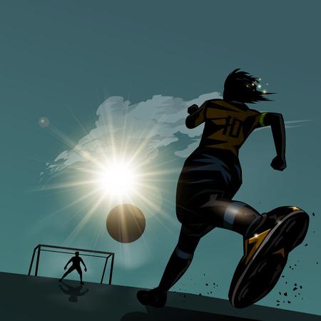ボール デザインのバック グラウンドで実行しているサッカー選手  イラスト・ベクター素材