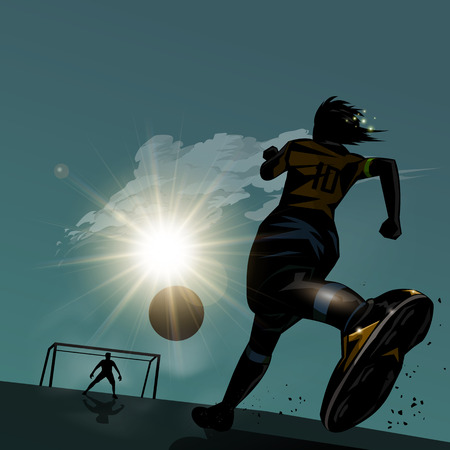 silhouette man: Soccer player running with ball design background