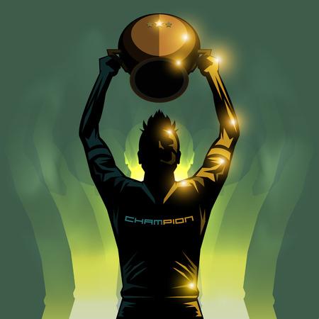 jugador de futbol: jugador de f�tbol de levantar un fondo ganador del trofeo