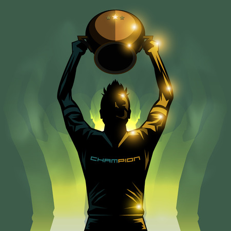soccer player lifting a winner trophy background