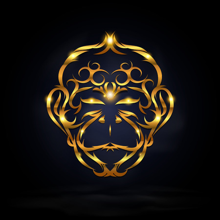 abstract gold monkey symbol design with dark background