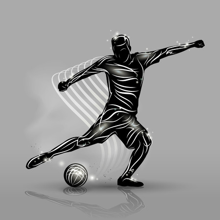 soccer team: silhouette soccer player black style with gray background