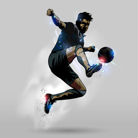 Soccer player in action jumping touch ball design