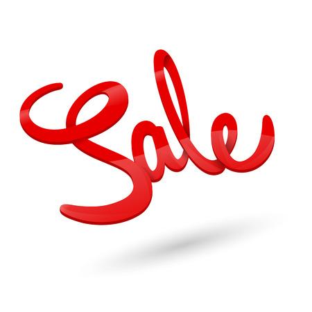 Red symbol of sale on white background Ilustração