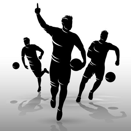 silueta masculina: siluetas grupo de jugadores de fútbol de diseño backgrond
