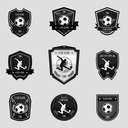 Black soccer emblems collections set on gray background