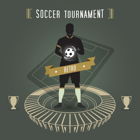 abstract soccer tournament with soccer player and stadium