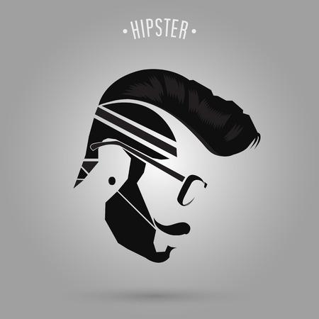 hombre con barba: dise�o inconformista estilo de pelo hombre sobre fondo gris Vectores
