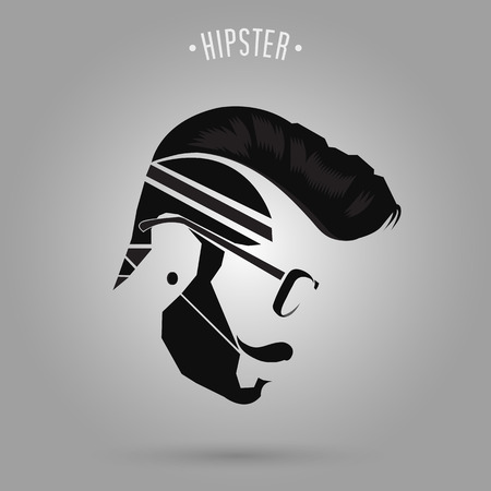 young men: hipster man hair style design on gray background Illustration