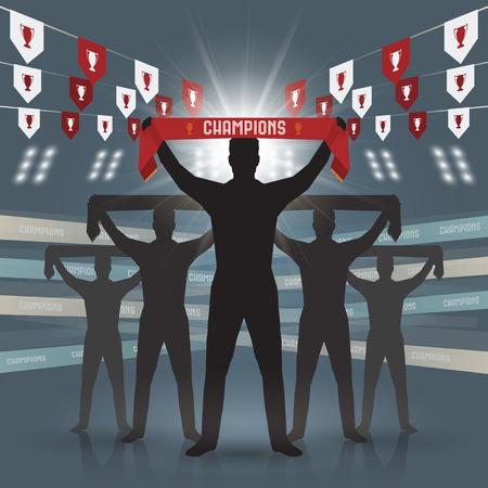 banni�re football: Silhouettes de conception football fan club sur fond bleu Illustration